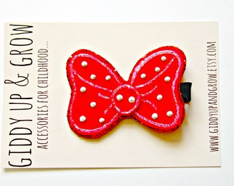 Minnie Mouse Bow Inspired - Glitter Mouse Bow Headband or Hairclip, Retro Bow, Giddy Up and Grow
