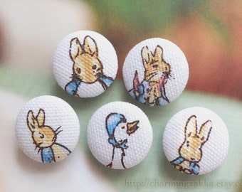 Fabric Covered Buttons (M) - Fairy Tale, Peter Rabbit and Friends (5Pcs, 0.75/0.87 Inch)