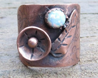 Native American Inspired Opal and Copper Ring - Size 8-1/2