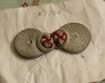 Fabulous Antique metal lace trim frog closure art deco red silver ribbon ribbonwork millinery trim flapper 1900s 1920 edwardian millinery