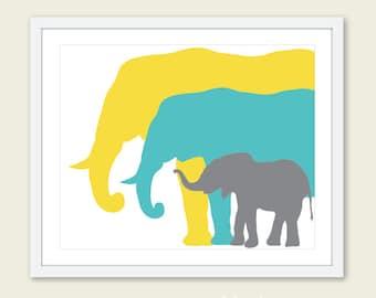 Elephant Art Print. Nursery Elephant Art Print. Yellow Blue Grey. Custom Color. Nursery Decor.