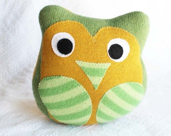 stuffed owl, eco friendly baby toy, miracle mittens owl, handmade owl, recycled sweater owl, owl pillow, baby shower gift, baby room decor