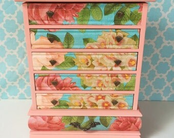 Jewelry Box in Peach, Floral: Ginger