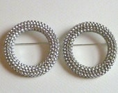 Large Silver Plated Circle Brooch with Settings for Rhinestones  -  51mm - High Quality Strong Heavy Vintage Casting