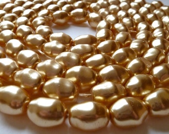 Vintage Czech Gold Glass Pearls - 16x13mm - Coated Glass - Qty 30 pcs  (bgpo4)