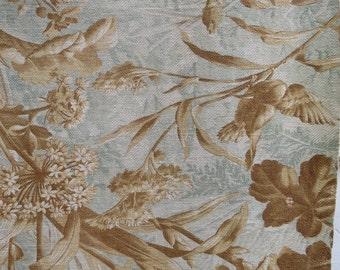 Beautiful Vintage French Woodland Themed Cretonne Textile