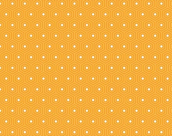 Orange and White Geometric Hexagon Flannel Fabric, Lazy Day by Lori Whitlock For Riley Blake, Hexagon Print in Orange, 1 Yard.