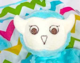 Aqua Owl Security Blanket, Lovey, Lovey Blanket, Minky Baby Blanket, Stuffed Animal, Baby Toy, Teething Toy, Sensory Blanket, Baby Children