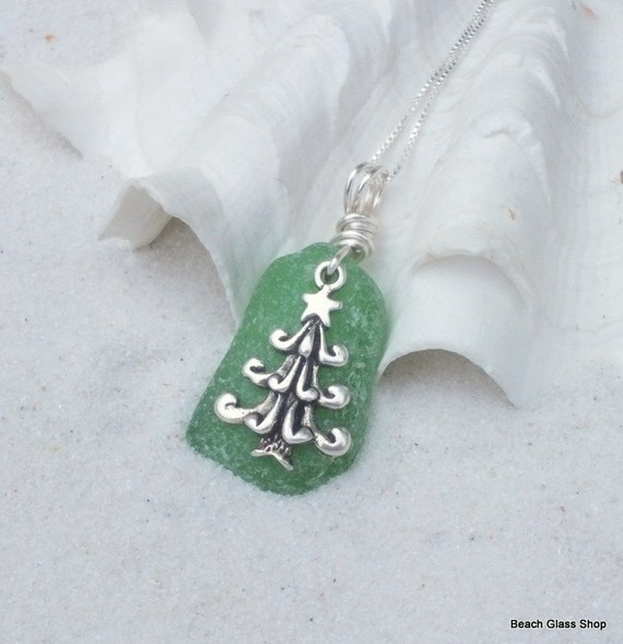 Sea Glass Necklace - Lake Erie Beach Glass - Sterling Necklace - Christmas Necklace