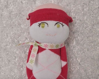 SOCK DOLL with green eyes and rose outfit