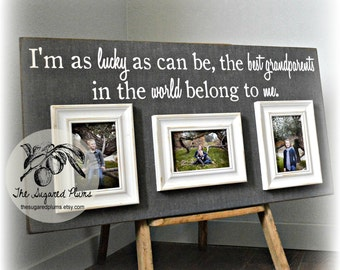 Grandparents Gift, Mothers Day, Grandma Gift, Grandparents Picture Frame, Personalized Picture Frame, Grandchildren, Lucky As I Can Be 16x30