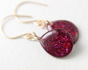 berry pink glitter resin earrings on 14k gold fill, drop earrings, dangle earring, teardrop earrings, red earrings, christmas earrings