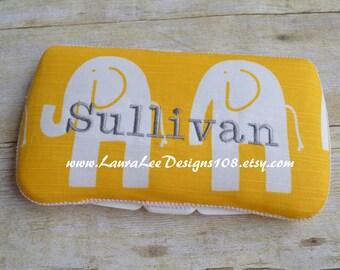 Ele the Elephant on Yellow, Travel Wipe Case, Baby Wipe Case, Personalized Wipe Case, Baby Shower Gift, Diaper Wipe Case, Elephant Wipe Case