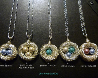 Nest and egg necklace, Bird nest necklace, Family birth stones, egg nest necklace