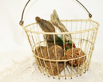 SALE - Egg Basket, Pale Yellow, Vintage, Very Sturdy and in Good Shape