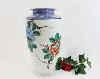 Vintage Japanese Vase, Porcelain Lusterware, Apricot and Blue Two Tone Luster Glazed Ceramic Vase with Handpainted Flower Design