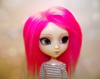 Bright neon pink frosted faux fur wig hair for Pullip/Taeyang