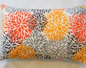 SALE One Lumbar  Pillow Cover Blooms Mums Fabric Both Sides Pick Your Size