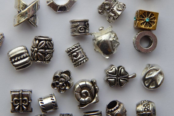 50 Pieces of Large Hole Metal Beads, Mixed Bag, European Style, Assorted Styles Sizes Colors and Shapes