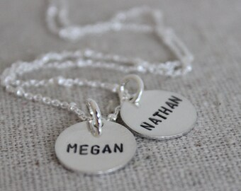 personalized mothers necklace | mom with two kids | 2 names necklace | two names | push present | name tag jewelry | name discs
