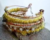 Gemstone Copper Bangles - Handmade Multi Fabric Wrapped, Rustic Gypsy Bohemian Stack Jewellery