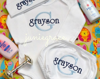 Personalized Baby Boy Coming Home Outfit Baby Boy Clothes Newborn Outfit Take Home Outfit Baby Gift Newborn Hat Personalized Diaper Cover