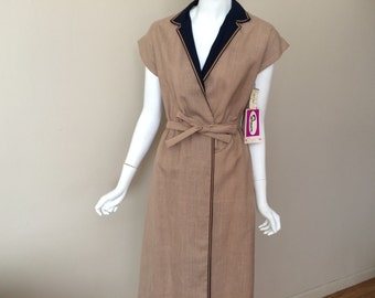Vintage 1970s Wrap Dress Shawn Originals Tan NWT New NOS