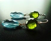 Peridot Quartz Earrings, Gorgeous Soft Blue Gemstone Droplets, Lime Green Peridot, Bezel Set, Sterling Silver, Dangle, Earring