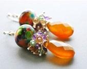 Rainbow Lampwork Bead Earrings Cluster Amethyst Onyx Citrine Honey Chalcedony Earrings Sterling Silver Spring Summer