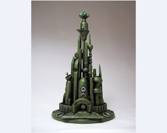 Mars Alien City Wedding Cake Topper Emerald Green Martian Towers Space Wood Sculpture