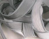 Hand Dyed Silk Ribbon, Silk Wrist Wrap,  Hand Painted Silk Bracelet, Fairy Ribbon - Quintessence - Overcast