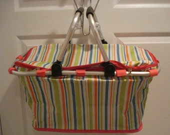 Insulated Multi Color Collapsible Market Tote Personalized Free Great for the Beach, Pool Parties