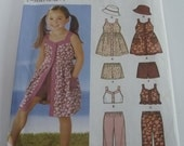 UNCUT Simplicity Pattern 5540 Easy to Sew Girls Dress, Top, Pants or Shorts & Hat-Sizes 3,4,5,6,7,8
