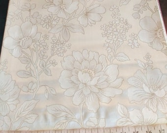Custom Curtains Valance Roman Shade in Ivory & Beige and Silver in Floral Pattern