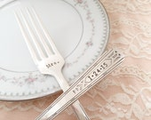Hand stamped salad forks. Add date to handle.  Mr and Mrs. Friendship