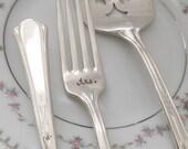 Mr. & Mrs. forks and cake server hand stamped cake forks for vintage weddings, valencia