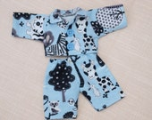 Waldorf Doll Clothes-Two piece Doll Blue Flannel pajamas ,fit 8 inch dolls