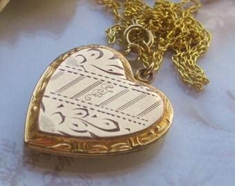 2 DAY SALE Antique Marked 1/20th 10kt Goldfilled Larger Heart Shaped Locket