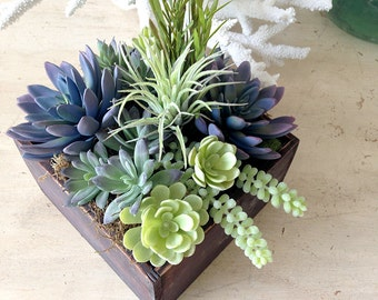 READY TO SHIP: Succulent centerpiece, faux succulent plants, faux succulents, succulent wedding centerpiece, floral arrangement, home living