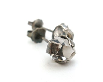 Herkimer Diamond Stud Earrings in Rustic Oxidized and Brushed Silver- Double Terminated Quartz- Herkimer Studs- Crystal Studs