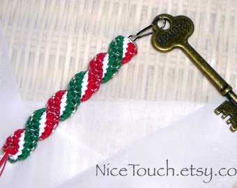 Ribbon Candy woven red, white, and green holiday waterproof keychain ~ Made to Order