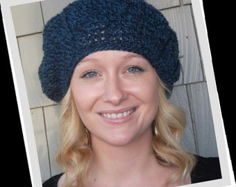 Radiating Stripes Two-Toned Blue Marl Crochet Slouch Beanie Hat