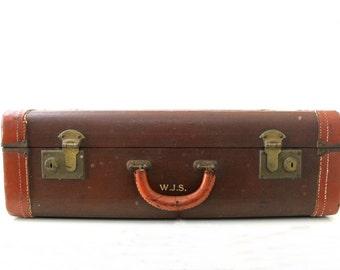 Vintage Reddish Brown Leather Edge Luggage, Travel luggage , Suite Case , Home Decor Luggage, Wedding Decor , Item No 4915