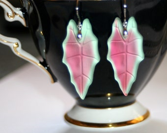 German Reproduction frosted pink green Opal glass leaf dangle earrings