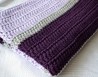 Crochet Afghan, Crochet Baby Blanket - Plum, Grey, and Lavender