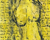 Yellow female nude, original acrylic painting on paper 21x28cm / 8x11in.