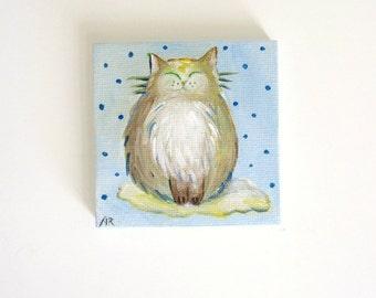 Fat Avocado Cat, Original Mini Painting 3x3, Feline Art