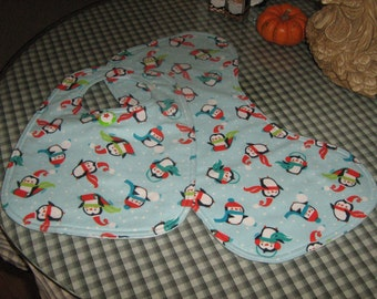 Infant Bib With Matching Burping Cloth Holiday Penguins