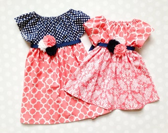 Size 8 - Ready to Ship - Navy and Coral Dress - Girls Spring Dresses - RTS