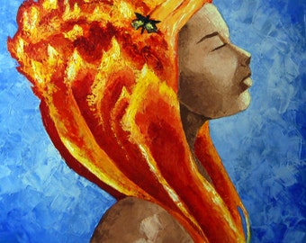 Large 30x30 Original Oil Impasto Painting Abstract Moth Flame Fire Girl Face Texture Blue Yellow Orange. FREE SHIPPING.